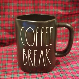 "Rae Dunn Black Coffee Mug ""Coffee Break"""